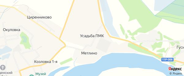 Карта деревни Усадьбы ПМК города Сольвычегодска в Архангельской области с улицами и номерами домов
