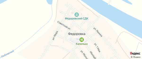 Советская улица на карте села Федоровки с номерами домов