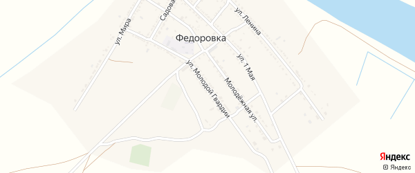 Улица Молодой Гвардии на карте села Федоровки с номерами домов