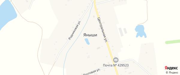 Зеленая улица на карте деревни Яныши с номерами домов