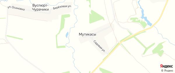 Карта деревни Мутикас в Чувашии с улицами и номерами домов