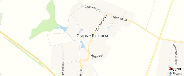 Карта деревни Старые Яхакасы в Чувашии с улицами и номерами домов