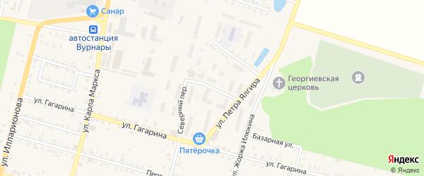 Зеленый переулок на карте поселка Вурнары с номерами домов