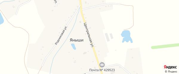 Центральная улица на карте деревни Яныши с номерами домов