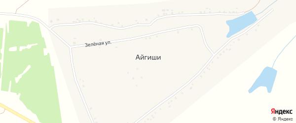 Зеленая улица на карте деревни Айгиши с номерами домов