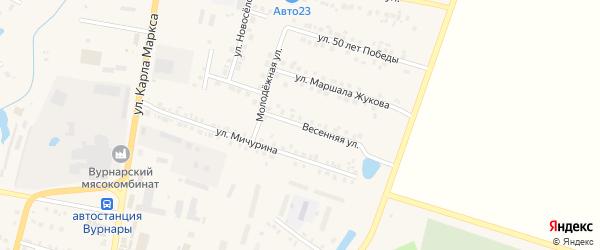 Весенняя улица на карте поселка Вурнары с номерами домов