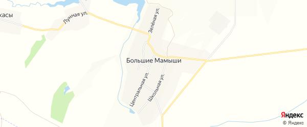 Карта деревни Большие Мамыши в Чувашии с улицами и номерами домов