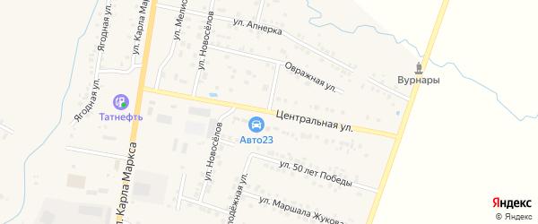 Центральная улица на карте поселка Вурнары с номерами домов