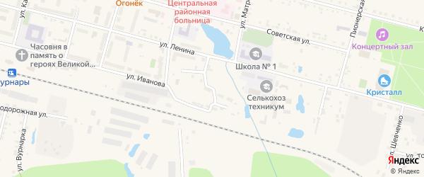 Хлебный переулок на карте поселка Вурнары с номерами домов