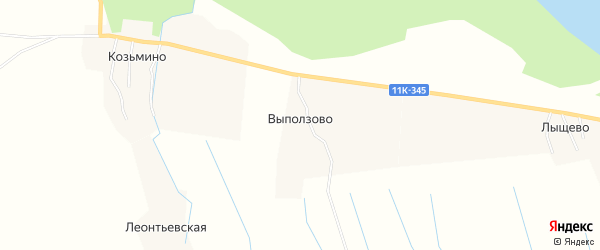 Карта деревни Выползово в Архангельской области с улицами и номерами домов