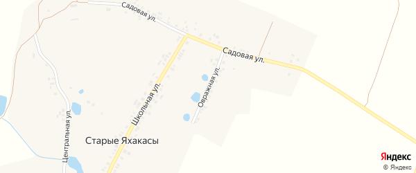 Овражная улица на карте деревни Старые Яхакасы с номерами домов