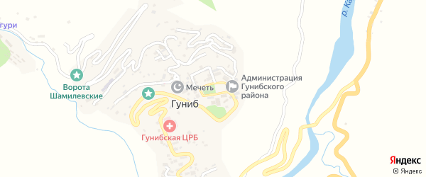 Площадь имени Имама Шамиля на карте села Гуниба с номерами домов