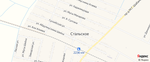 Гунзибская улица на карте Стальского села с номерами домов