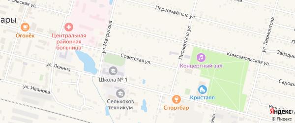 Советская улица на карте поселка Вурнары с номерами домов
