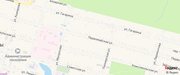 Первомайская улица на карте поселка Вурнары с номерами домов