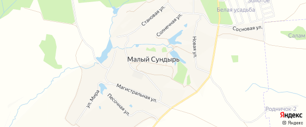 Карта деревни Малого Сундыря в Чувашии с улицами и номерами домов