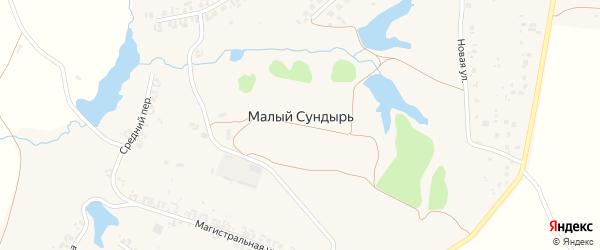 Магистральная улица на карте деревни Малого Сундыря с номерами домов