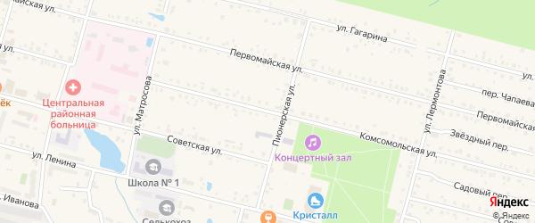 Комсомольская улица на карте поселка Вурнары с номерами домов