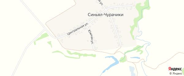 Южная улица на карте деревни Синьяла-Чурачики с номерами домов