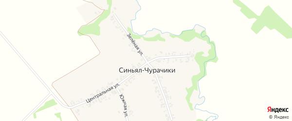 Зеленая улица на карте деревни Синьяла-Чурачики с номерами домов