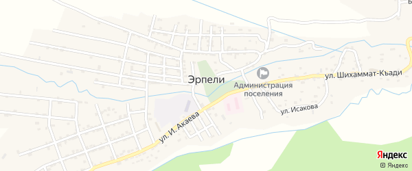 Улица Убаева А. на карте села Эрпели с номерами домов