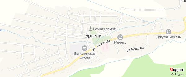 Улица М.Темирханова на карте села Эрпели с номерами домов