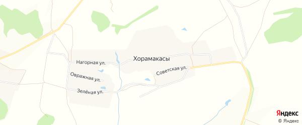 Карта деревни Хорамакасы в Чувашии с улицами и номерами домов