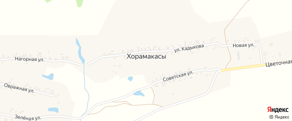 Нагорная улица на карте деревни Хорамакасы с номерами домов
