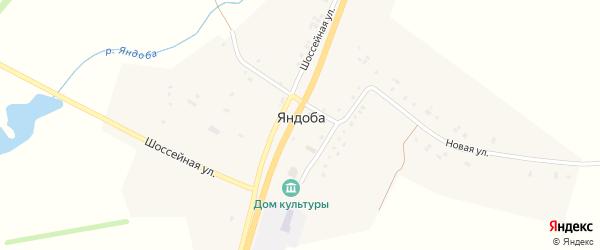 Шоссейная улица на карте села Яндобы с номерами домов