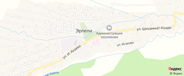 Улица И.Акаева на карте села Эрпели с номерами домов
