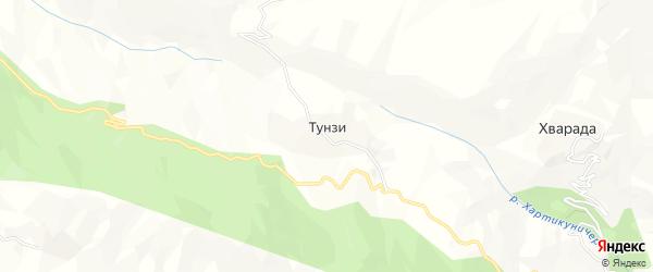 Карта села Тунзи в Дагестане с улицами и номерами домов