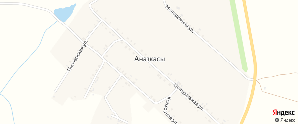 Комсомольская улица на карте деревни Анаткас с номерами домов