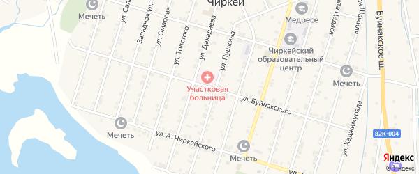 Улица Буйнакского на карте села Чиркея с номерами домов