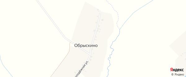 Угловая улица на карте деревни Обрыскино с номерами домов