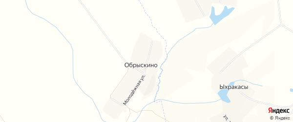 Карта деревни Обрыскино в Чувашии с улицами и номерами домов