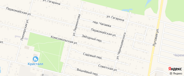 Звездный переулок на карте поселка Вурнары с номерами домов