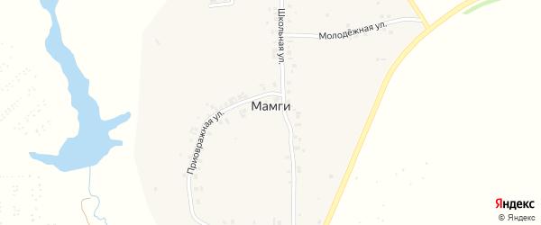 Школьная улица на карте деревни Мамги с номерами домов