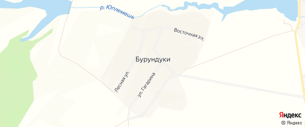 Карта деревни Бурундуки в Чувашии с улицами и номерами домов