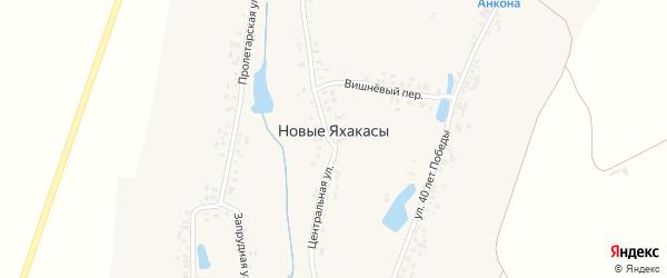 Запрудный переулок на карте деревни Новые Яхакасы с номерами домов