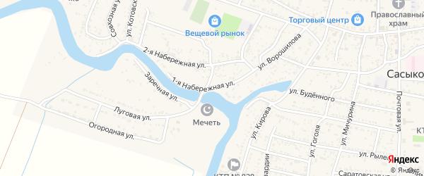 Набережная 1-я улица на карте села Сасыколи с номерами домов