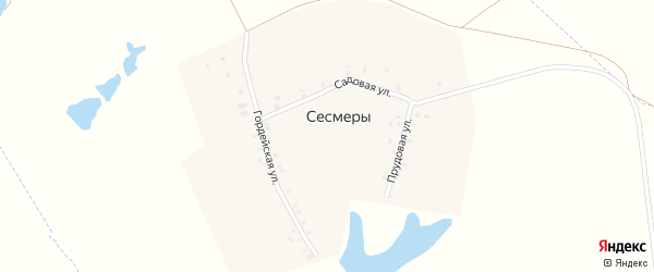 Прудовая улица на карте деревни Сесмеры с номерами домов