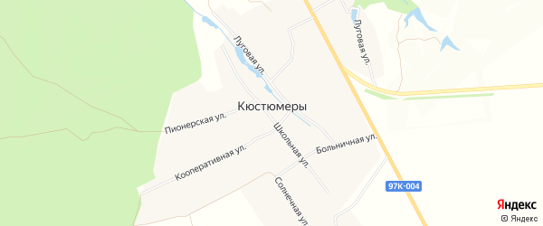 Карта деревни Кюстюмеры в Чувашии с улицами и номерами домов
