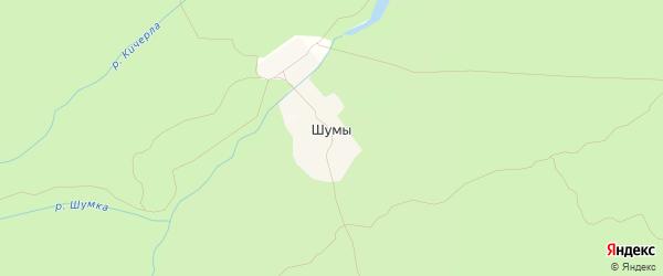 Карта поселка Шумы в Чувашии с улицами и номерами домов