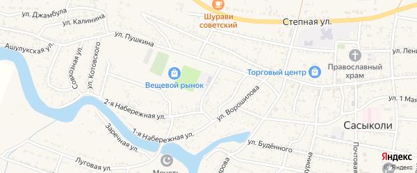 Площадь 30 лет ВЛКСМ на карте села Сасыколи с номерами домов