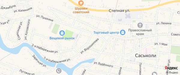 Октябрьский переулок на карте села Сасыколи с номерами домов