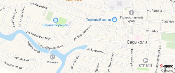 Партизанский переулок на карте села Сасыколи с номерами домов