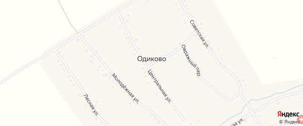 Лесная улица на карте деревни Одиково с номерами домов