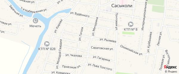 Улица Рылеева на карте села Сасыколи с номерами домов
