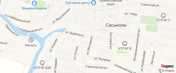 Улица Буденного на карте села Сасыколи с номерами домов