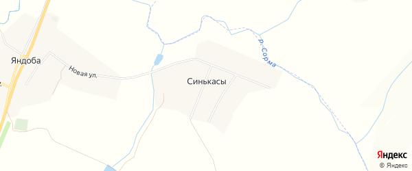 Карта деревни Синькас в Чувашии с улицами и номерами домов